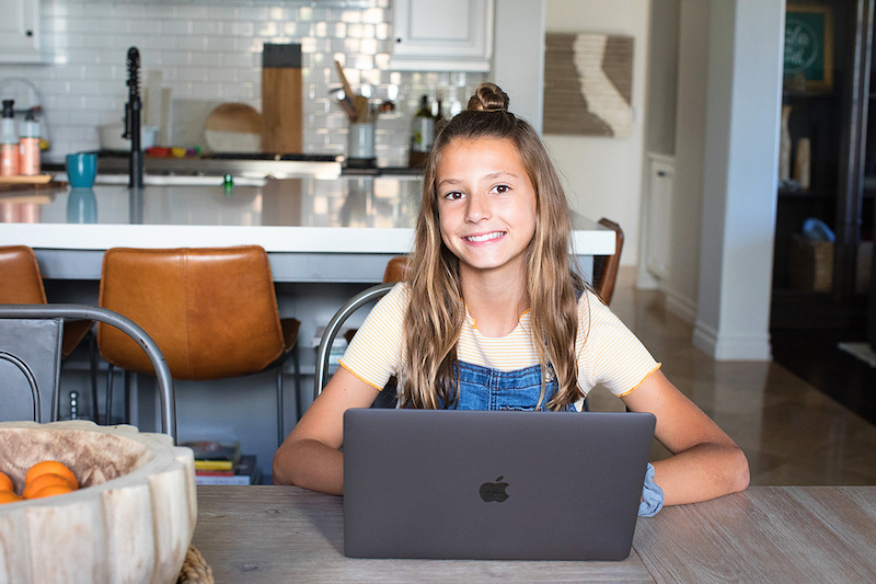 Girl working on coding project